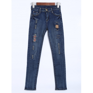 High Waisted Patches Distressed Jeans - Deep Blue - 27