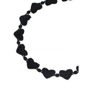 Love Heart Lace Choker Necklace - BLACK