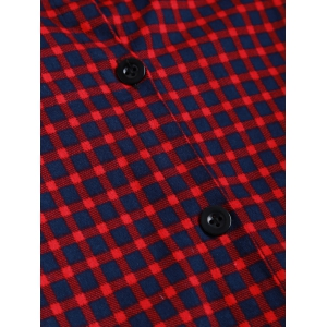 Short Checked A Line Shirt Dress - DARK RED ONE SIZE