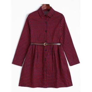 Short Checked A Line Shirt Dress - Dark Red - One Size