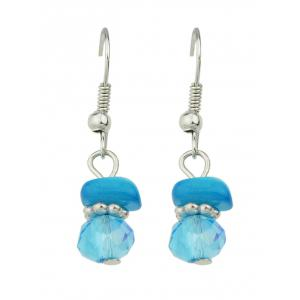 Turquoise Faux Crystal Jewelry Set - BLUE