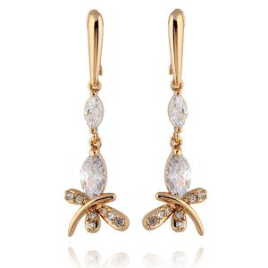 Stylish Zircon Butterfly Dangle Earrings