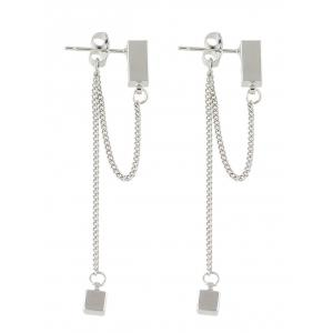 Cube Layered Chain Drop Earrings