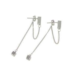 Cube Layered Chain Drop Earrings - SILVER