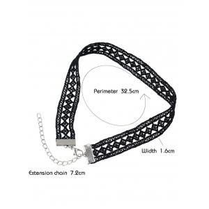 Geometry Hollow Out Lace Choker Necklace - BLACK