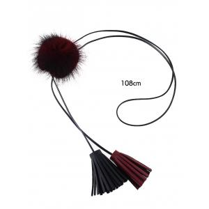 Faux Fur Ball Fringe Bolo Necklace -