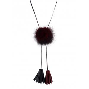 Faux Fur Ball Fringe Bolo Necklace