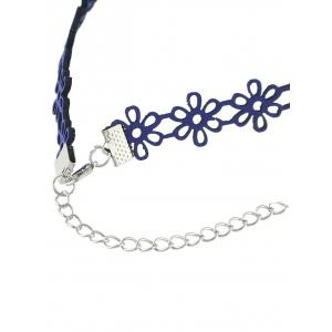 Hollow Flower Choker Necklace - BLUE