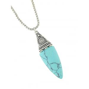 Embellished Faux Turquoise Oval Necklace - TURQUOISE BLUE