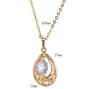 Teardrop Hollow Zircon Pendant Necklace Set - GOLDEN