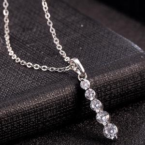 Alloy Beading Rhinestone Pendant Necklace Set - SILVER