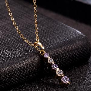 Rhinestone Pendant Necklace Set -