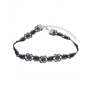 Floral Hollow Out Lace Choker Necklace - BLACK