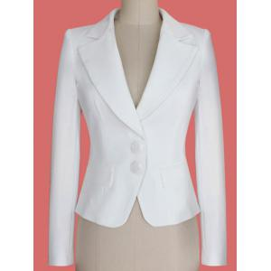 Two Buckle Slim Fit Short Peplum Blazer - White - S