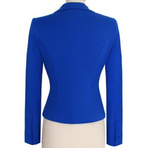 Two Buckle Slim Fit Short Peplum Blazer - BLUE L