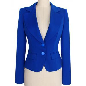 Two Buckle Slim Fit Short Peplum Blazer - Blue - L