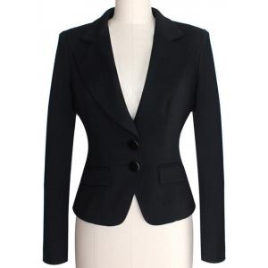 Two Buckle Slim Fit Short Peplum Blazer - Black - 4xl