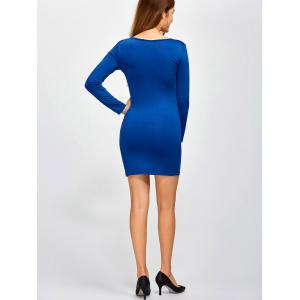Mini Cut Out Bodycon Dress - BLUE 2XL