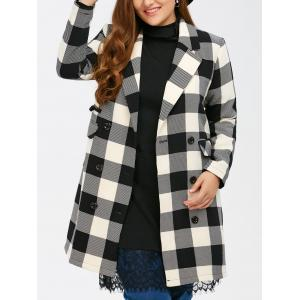 Plus Size Tartan Plaid Double Breasted Coat - Black Plaid - Xl