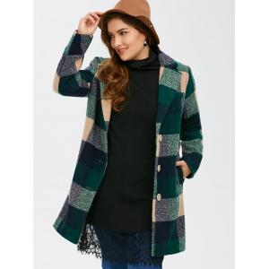 Woolen Single Breasted Tartan Plaid Coat -