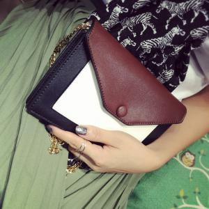 Colour Splicing Envelope Magnetic Closure Crossbody Bag -