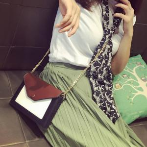Colour Splicing Envelope Magnetic Closure Crossbody Bag