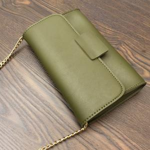 Magnetic Closure Stitching PU Leather Clucth Bag -