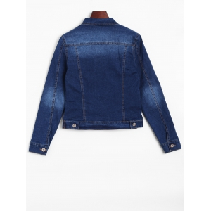Distressed Faded Cropped Casual Denim Jacket - DENIM BLUE L