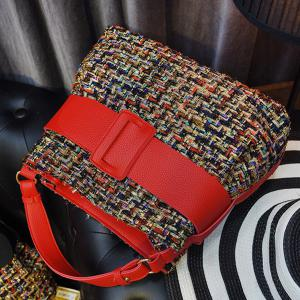 Colour Spliced Metal Buckle Tote Bag -
