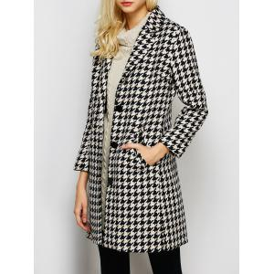 Lapel Single Breasted Houndstooth Coat - Black - L