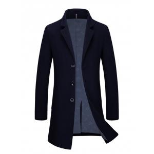 Slim Fit Single Breasted Lapel Wool Blend Coat - Cadetblue - 3xl