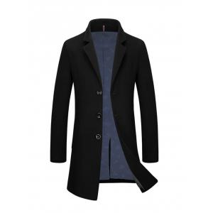 Slim Fit Single Breasted Lapel Wool Blend Coat