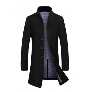 Stand Collar Single Breasted Wool Blend Coat - Black - 3xl
