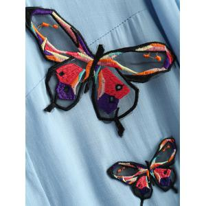 Long Sleeve Plus Size Butterfly Embroidered Elastic Waist Shirt - LIGHT BLUE XL