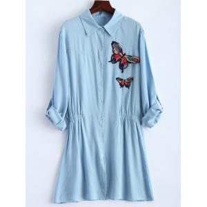 Long Sleeve Plus Size Butterfly Embroidered Elastic Waist Shirt