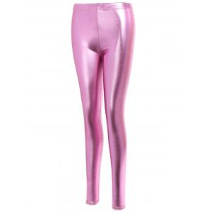 Gilding Faux Leather Leggings - PINK ONE SIZE