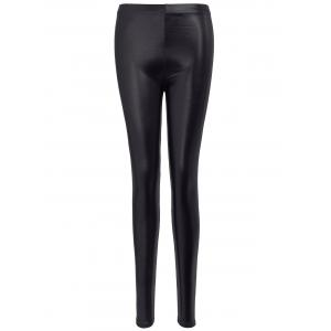 Gilding Faux Leather Leggings - Black - One Size