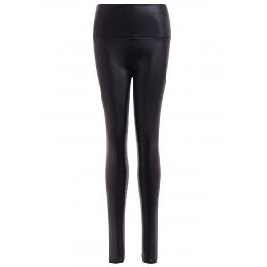 Stretchy PU Leather Leggings - Black - One Size