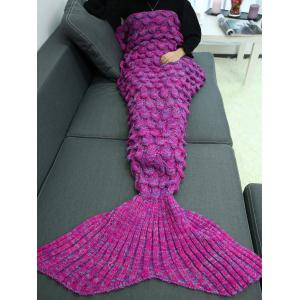 Knitting Fish Scales Design Mermaid Tail Style Blanket - DEEP PURPLE