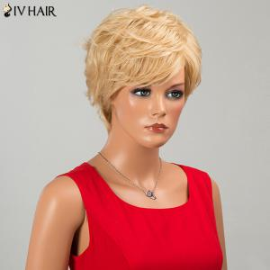 Siv Hair Fluffy Short Side Bang Layered Curly Human Hair Wig -