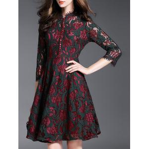 Vintage Flower Buttons Lace Party Dress - Black And Red - S