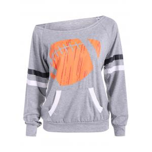 Casual Rugby Stripe Pattern Pocket Skew Collar Sweatshirt