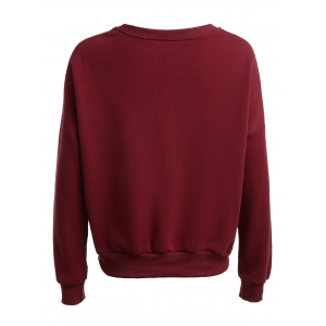 Long Sleeve Loose Fitted Letter Pattern Sweatshirt - WINE RED L