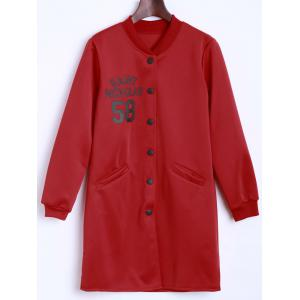 Letter Pattern Long Bomber Coat