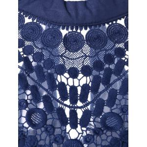 Lace Panel Chiffon Tank Top - BLUE XL