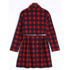 Long Sleeve Checked Dress With Belt -