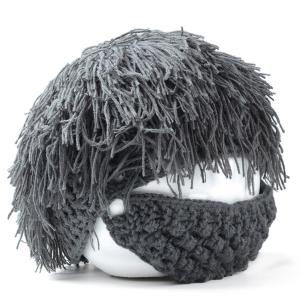 Woolen Yarn Imitated Wig Knitted Beard Face Hat For Men and Women - Frost