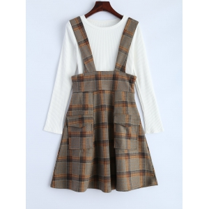 Plaid Suspender Skirt and Slim Fit T-Shirt -