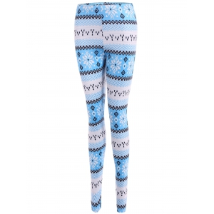 Tight Snowflake Print Christmas Leggings - BLUE XL