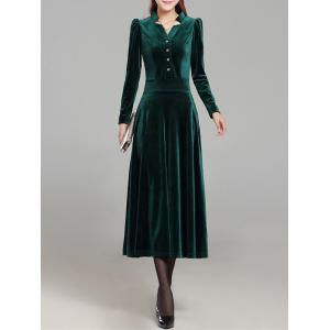 Velvet Formal Long Sleeve Midi Swing Dress